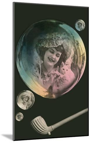 Lady in Bubble Playing with Kitten--Mounted Art Print