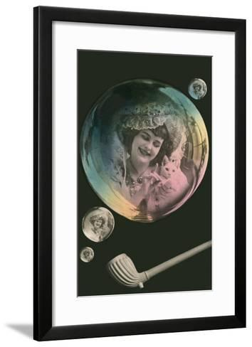 Lady in Bubble Playing with Kitten--Framed Art Print