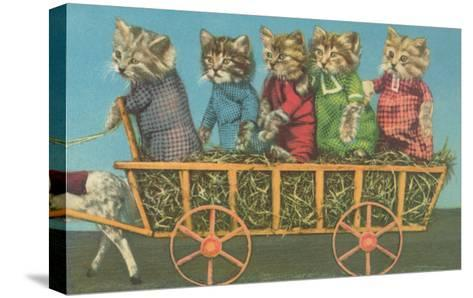 Dressed Kittens Go for a Hayride--Stretched Canvas Print