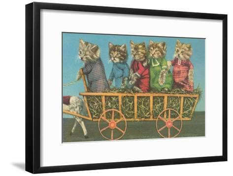 Dressed Kittens Go for a Hayride--Framed Art Print