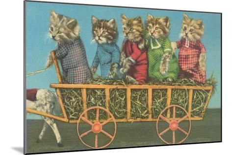 Dressed Kittens Go for a Hayride--Mounted Art Print
