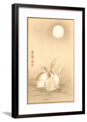Rabbits and the Moon--Framed Art Print