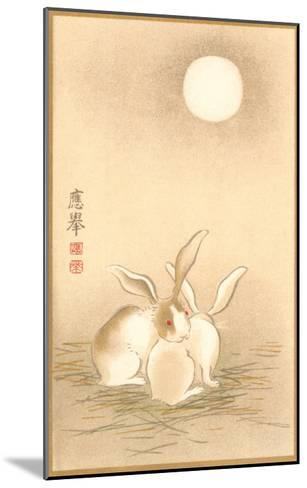 Rabbits and the Moon--Mounted Art Print