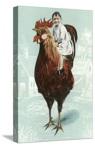 Baby Riding Giant Rooster--Stretched Canvas Print