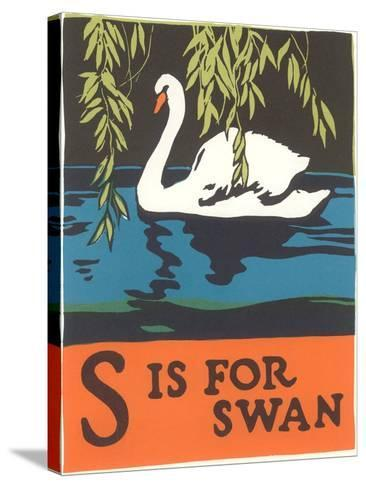 S is for Swan--Stretched Canvas Print
