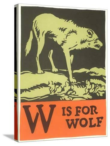 W is for Wolf--Stretched Canvas Print