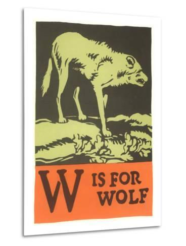 W is for Wolf--Metal Print