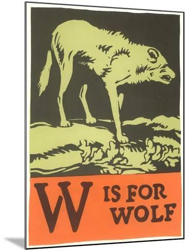 W is for Wolf--Mounted Art Print