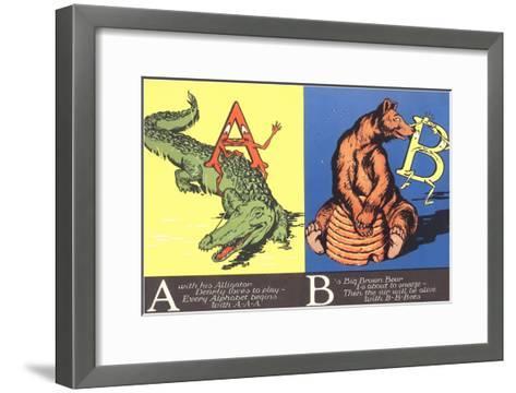 Alligator and Bear--Framed Art Print