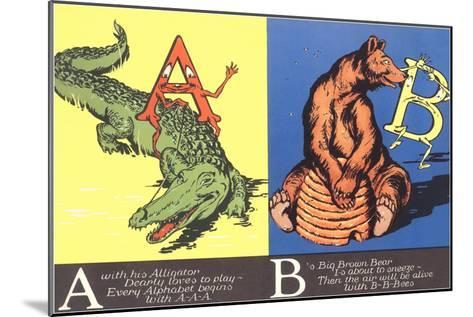 Alligator and Bear--Mounted Art Print