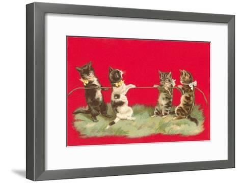 Kittens Playing Tug of War--Framed Art Print