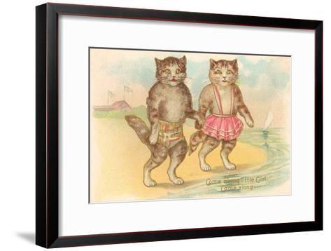 Come Along Little Girl, Cats at Beach--Framed Art Print