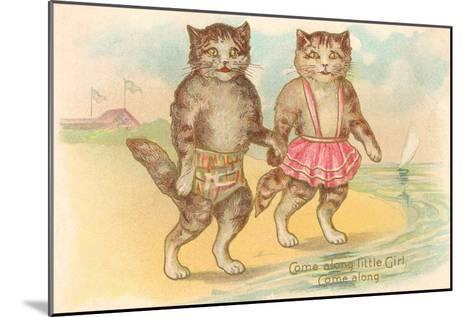 Come Along Little Girl, Cats at Beach--Mounted Art Print
