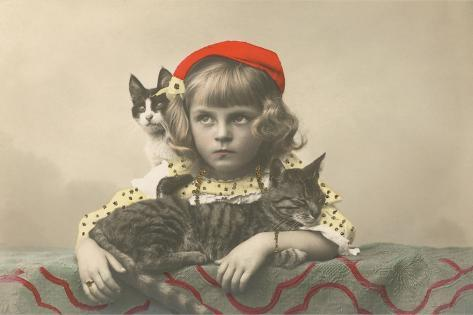Girl with Red Tam and Two Cats--Stretched Canvas Print