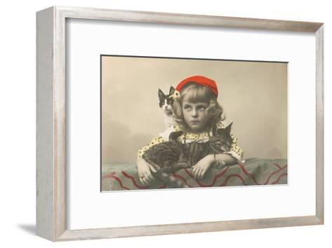 Girl with Red Tam and Two Cats--Framed Art Print