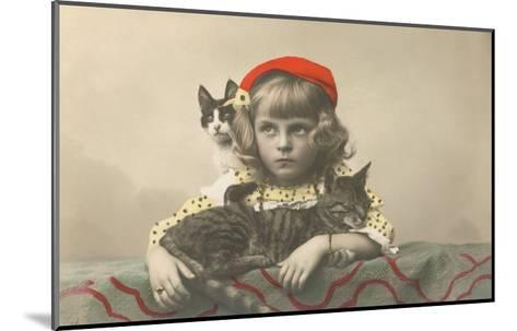 Girl with Red Tam and Two Cats--Mounted Art Print