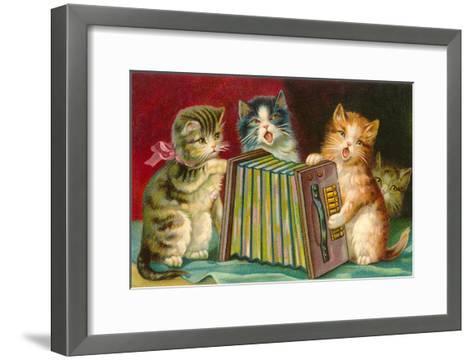 Kittens Playing Concertina--Framed Art Print