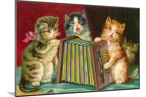 Kittens Playing Concertina--Mounted Art Print