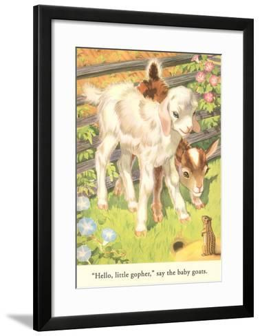 Lambs and Gopher--Framed Art Print