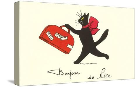 Black Cat with Suitcase, French Greetings from Nice--Stretched Canvas Print