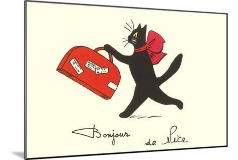 Black Cat with Suitcase, French Greetings from Nice--Mounted Art Print