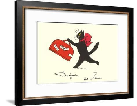 Black Cat with Suitcase, French Greetings from Nice--Framed Art Print