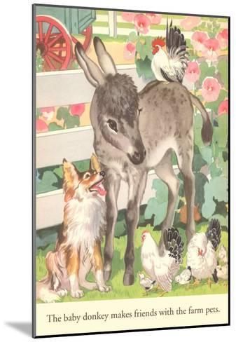 Baby Donkey with Farm Animals--Mounted Art Print