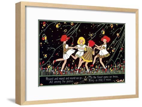 Girls Playing Ring Around Rosy--Framed Art Print