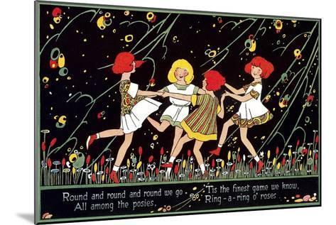 Girls Playing Ring Around Rosy--Mounted Art Print