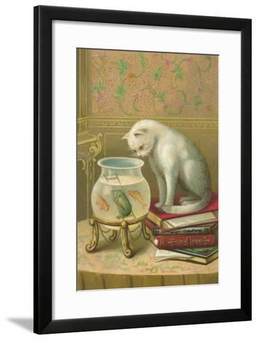 Cat Watching Frog and Fish--Framed Art Print