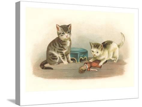 Two Kittens with Doll--Stretched Canvas Print