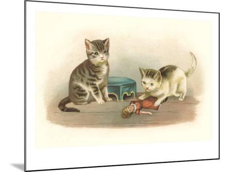Two Kittens with Doll--Mounted Art Print