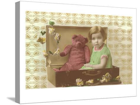 Little Girl in Suitcase with Teddy Bear--Stretched Canvas Print