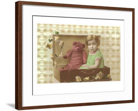 Little Girl in Suitcase with Teddy Bear--Framed Art Print