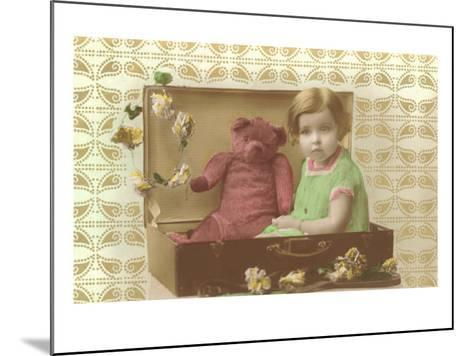 Little Girl in Suitcase with Teddy Bear--Mounted Art Print