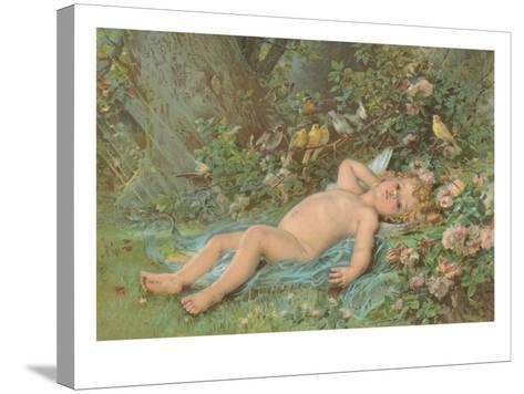 Cupid Lying on Grass--Stretched Canvas Print