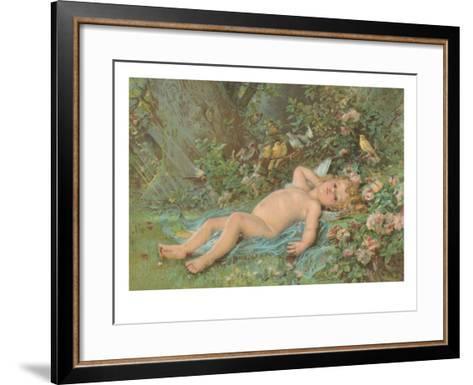 Cupid Lying on Grass--Framed Art Print