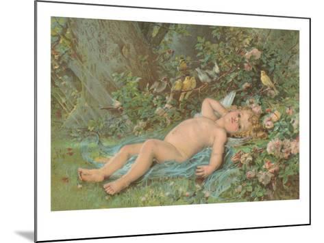 Cupid Lying on Grass--Mounted Art Print