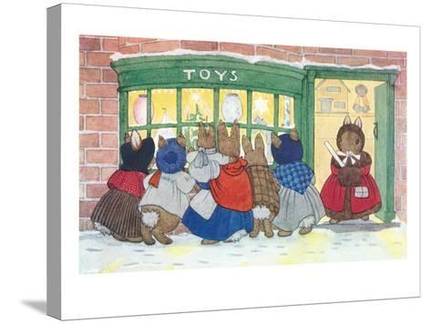 Bunnies at Toy Shop--Stretched Canvas Print