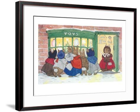 Bunnies at Toy Shop--Framed Art Print