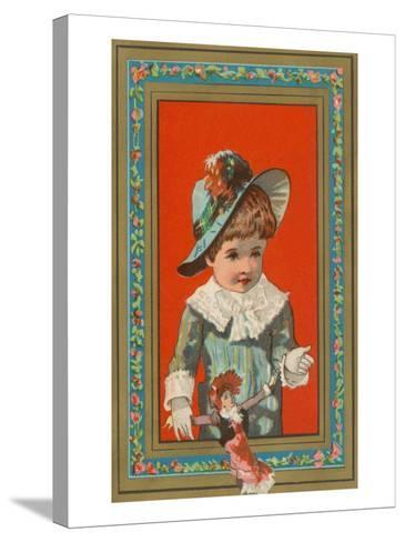 Victorian Boy in Frame with Doll--Stretched Canvas Print
