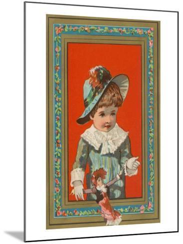 Victorian Boy in Frame with Doll--Mounted Art Print
