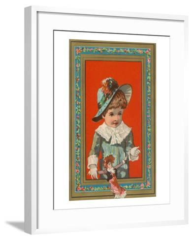 Victorian Boy in Frame with Doll--Framed Art Print