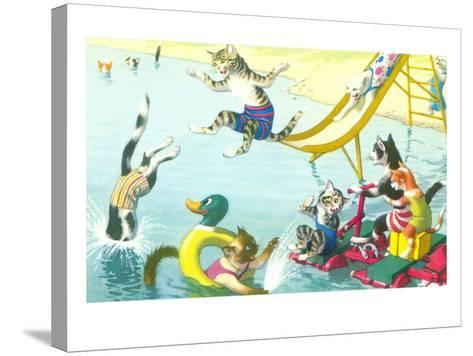 Cats Sliding into Swimming Pool--Stretched Canvas Print