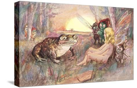 Fairy Talking to Frog--Stretched Canvas Print
