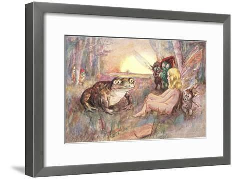 Fairy Talking to Frog--Framed Art Print