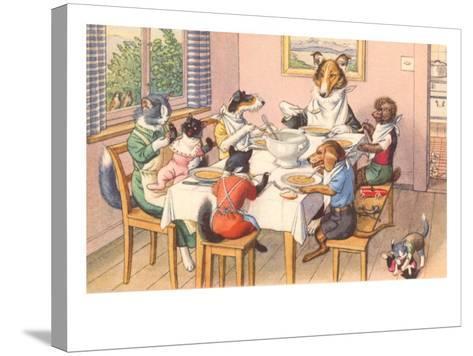 Dogs and Cats at Supper--Stretched Canvas Print