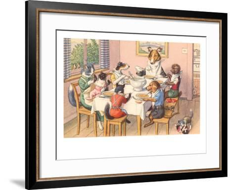 Dogs and Cats at Supper--Framed Art Print