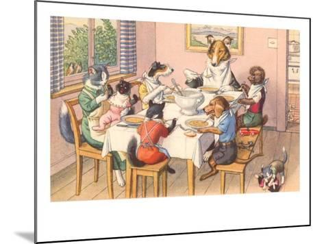 Dogs and Cats at Supper--Mounted Art Print