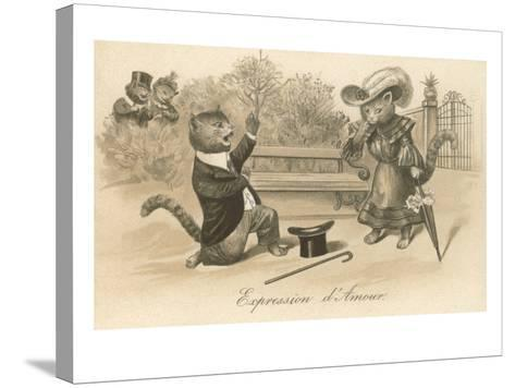 Victorian Cat Proposing, Expression d'Amour--Stretched Canvas Print